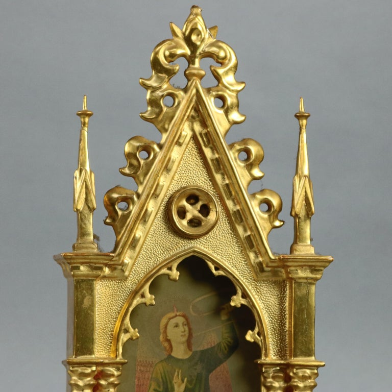 Hand-Painted Antique Russian Giltwood and Hand Painted Cathedral Form Icon, circa 1890