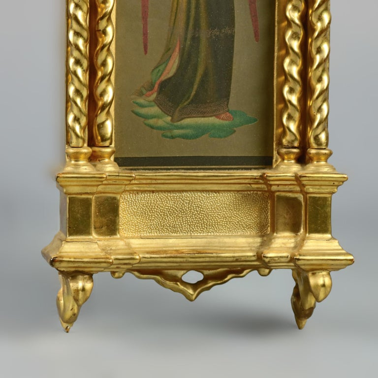 19th Century Antique Russian Giltwood and Hand Painted Cathedral Form Icon, circa 1890