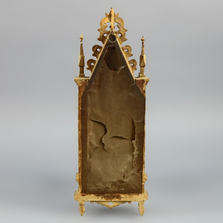 Wood Antique Russian Giltwood and Hand Painted Cathedral Form Icon, circa 1890