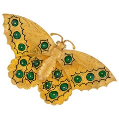 Antique Russian Gold and Emerald Butterfly Brooch