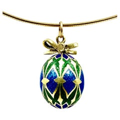 Antique Russian Gold and Guilloche Enamel Easter Egg Pendant, 19th Century