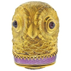 Antique Russian Gold Enamel Gemstone Diamond Owl Box