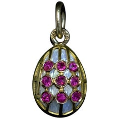 Antique Russian Gold Ruby Guilloche Enamel Egg Pendant