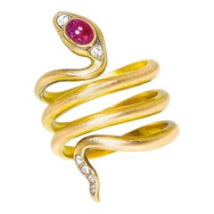 Antique Russian Gold Snake Ring, K. Faberge, circa 1895