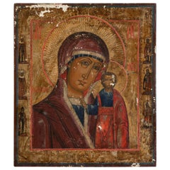 Antique Russian Icon Painting of the Virgin and Christ Child
