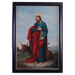 Antique Russian Icon Style Oil on Canvas Painting of St. Luke, 20th C