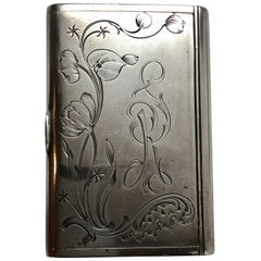 Antique Russian Ivan Lebedkin 84 Silver Cigarette Case Floral Motif