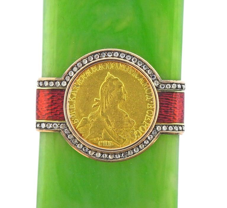 Rose Cut Antique Russian Jade Diamond Enamel Silver Gold Object For Sale