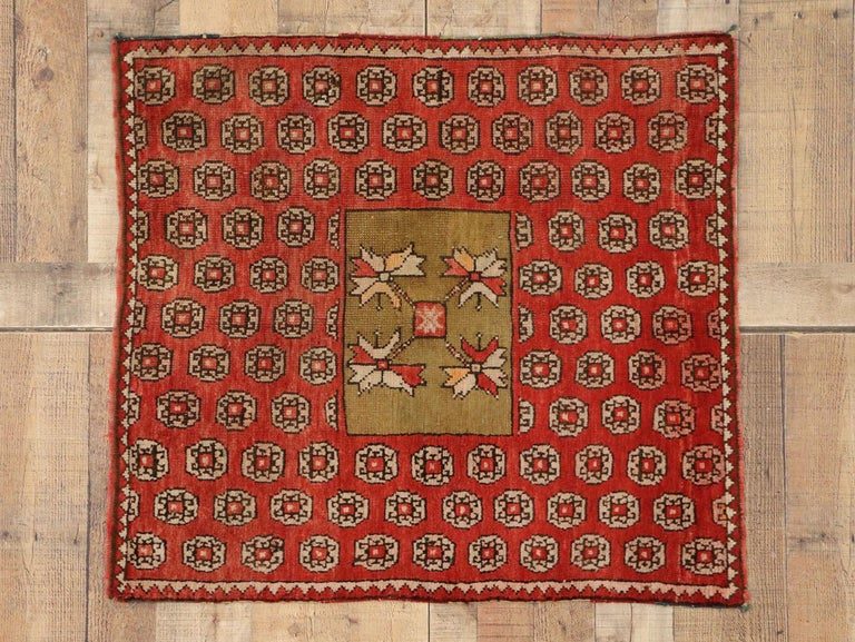 Antique Russian Karabagh Square Rug with Traditional Modern Style For Sale 2