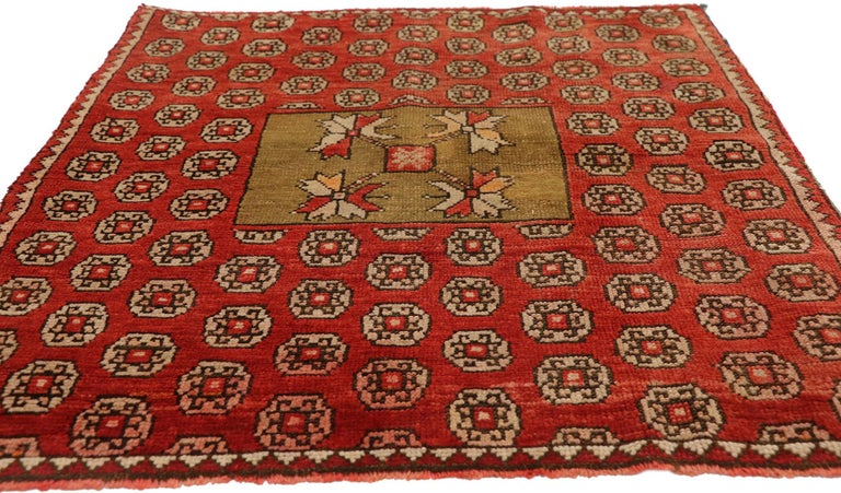 Hand-Knotted Antique Russian Karabagh Square Rug with Traditional Modern Style For Sale
