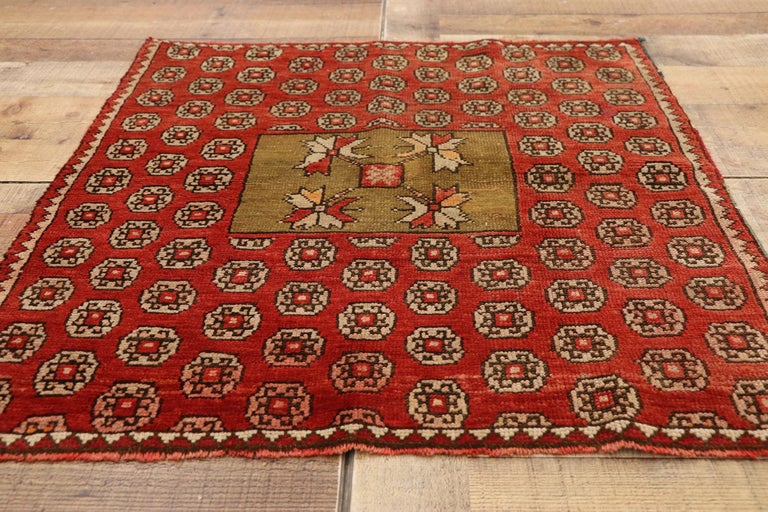 Antique Russian Karabagh Square Rug with Traditional Modern Style For Sale 1