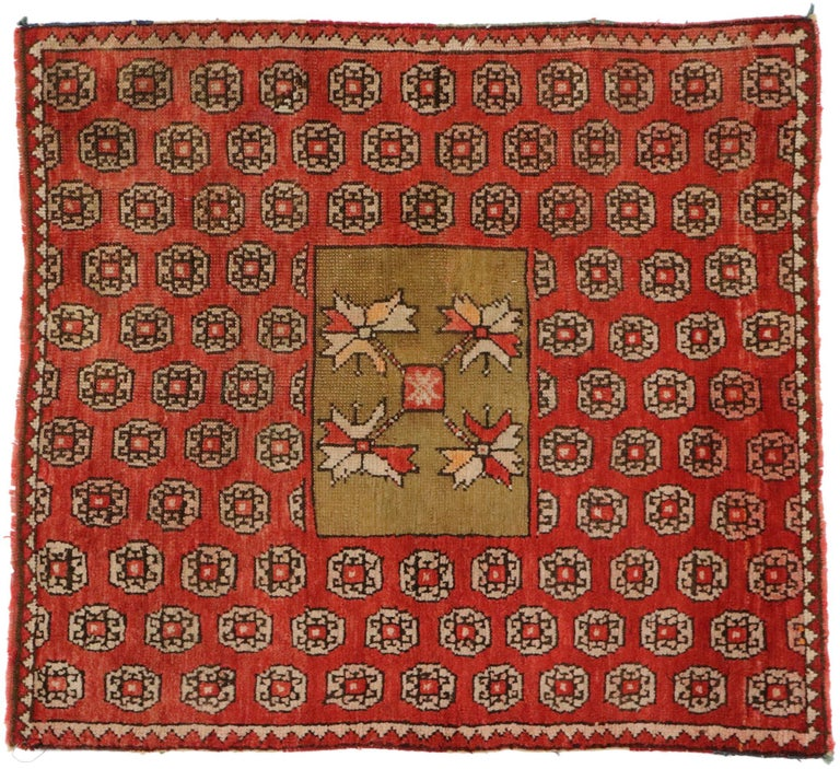 51170 Antique Russian Karabagh Square Rug with Traditional Modern Style. This hand-knotted wool antique Russian Karabagh rug features a striking all-over geometric pattern enclosing a square medallion. Rendered in contrasting colors of red and camel