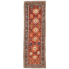 Antique Russian Kazak Runner Rug with Colored Stars & Geometric Medallions