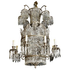 Antique Russian Neoclassical Balloon Form Silvered Bronze and Crystal Chandelier