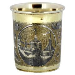 Antique Russian Niello Enamel & Silver Beaker, Alexander Nordert Gotkovski, 1841