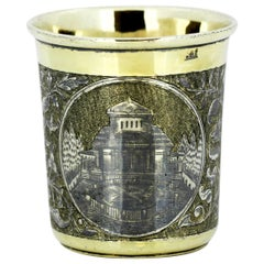 Antique Russian Niello Enamel & Silver Beaker, Alexander Nordert Gotkovski, 1842