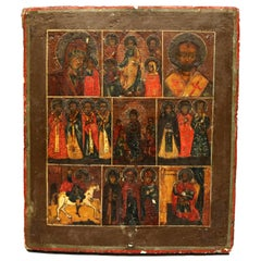 Antique Russian Orthodox Icon, Painting on Board, 18th-19th Century