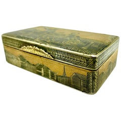 Antique Russian Parcel Gilt Silver Niello Snuff Box Minin and Pozharsky, 1820s
