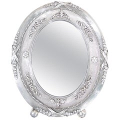 Antique Russian Rococo Silver Oval Picture Frame