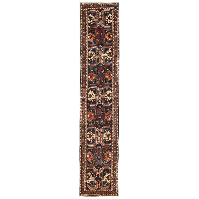 Antique Russian Runner Rug Karebagh Design For Sale