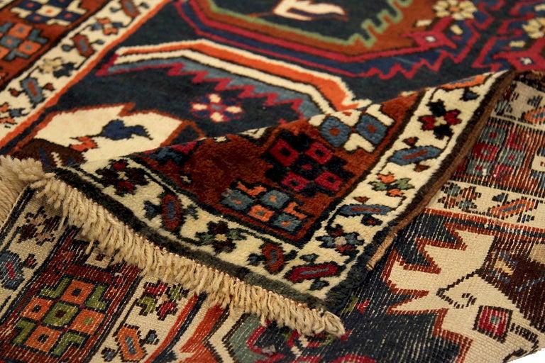 Hand-Woven Antique Russian Runner Rug Karebagh Design For Sale