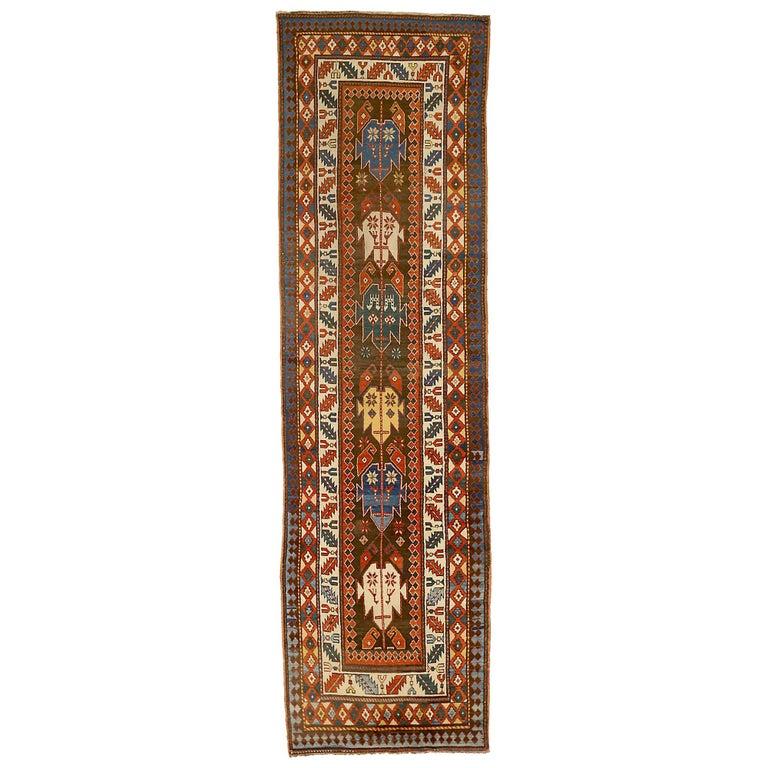 Antique Russian Runner Rug Kazak Design For Sale