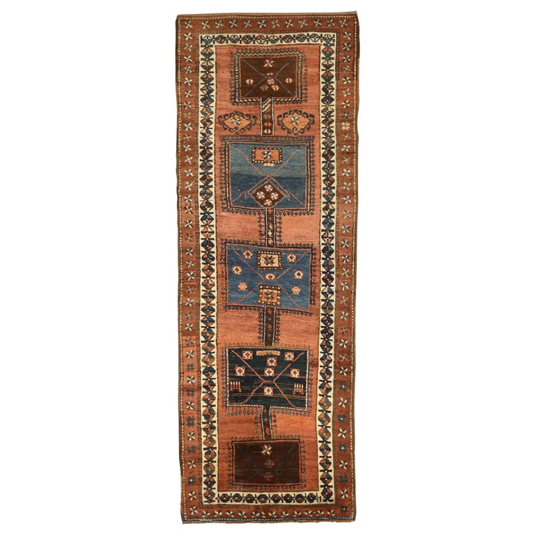 Antique Russian Runner Rug Kazak Design For Sale