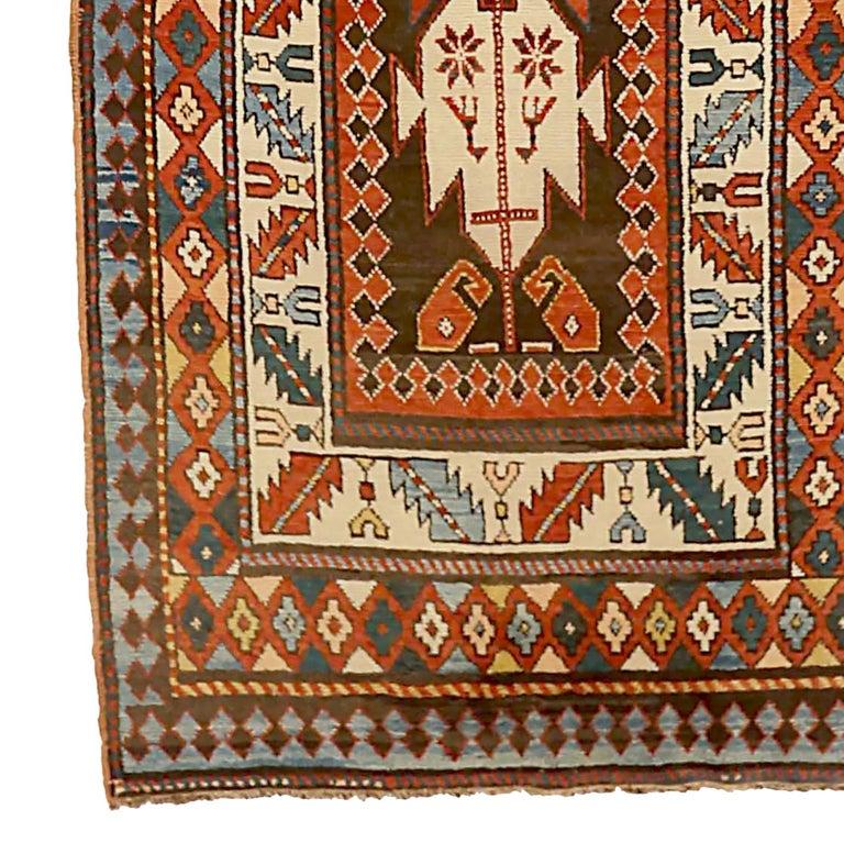 Hand-Woven Antique Russian Runner Rug Kazak Design For Sale