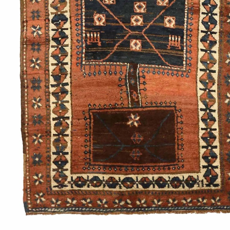 Hand-Woven Antique Russian Runner Rug Kazak Design For Sale
