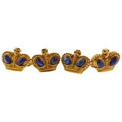 Antique Russian Sapphire Gold Crown Cufflinks