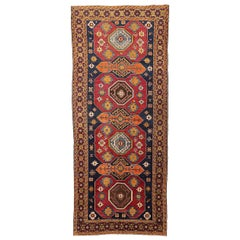 Antique Russian Shirvan Rug with Geometric & Floral Medallions in Red and Orange