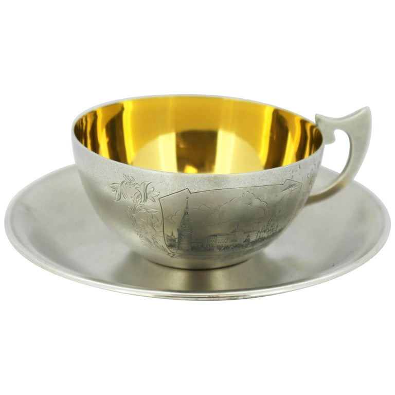 Antique Russian Silver and Niello Tea Cup and Plate, circa 1954 For Sale
