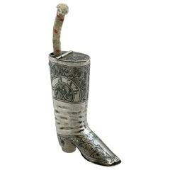 Antique Russian Silver 'Boot' Vesta Case and Taper Holder