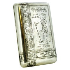 Antique Russian Silver Cigarette / Tobacco Box Russia, circa 1896