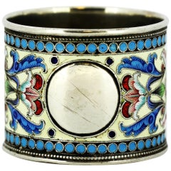 Antique Russian Silver & Cloisonné Enamel Napkin Ring, by Ivan Saltykov, Moscow