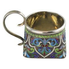 Antique Russian Silver and Cloisonné Enamel Kovsh, 19th Century