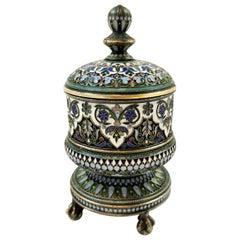 Antique Russian Silver and Enamel Tobacco Jar Box Moscow 1882 Ovchinnikov
