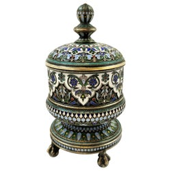 Antique Russian Silver and Enamel Tobacco Jar Box Moscow 1882 Ovchinnikov