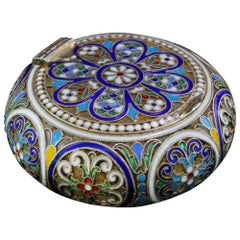 Antique Russian Silver-Gilt and Cloisonné Enamel Pillbox, 1890's
