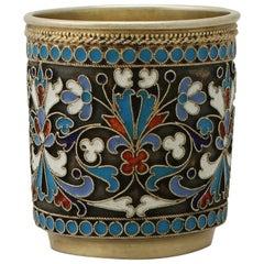 Antique Russian Silver Gilt and Polychrome Cloisonné Enamel Vodka Cup / Beaker
