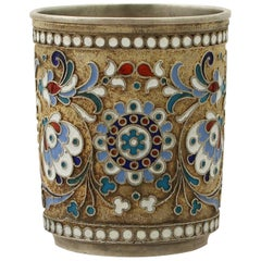 Antique Russian Silver Gilt and Polychrome Cloisonné Enamel Vodka Cup or Beaker