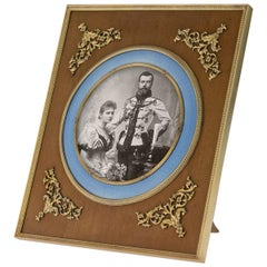 Antique Russian Silver-Gilt, Enamel and Wood Photo Frame, 3rd Artel, circa 1910