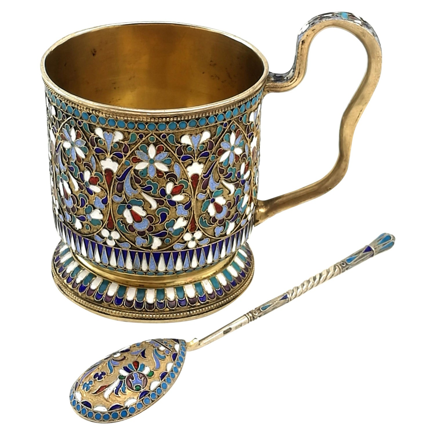 Antique Russian Silver Gilt & Enamel Cup and Spoon circa 1899 Tea Cup Teaspoon
