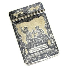 Antique Russian Silver-Gilt and Niello Box, 1827, Engraved Russian Heroes