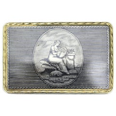 Antique Russian Silver-Gilt and Niello Pill / Snuff Box, Moscow, circa 1810-1820