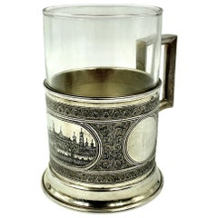 Antique Russian Silver Niello Moscow Panorama of the Kremlin Tea Glass Holder