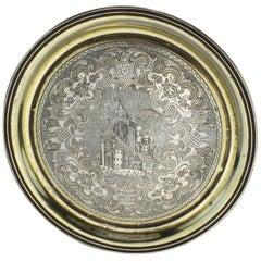 Antique Russian Silver-Niello Plate, Russia Moscow, 1852