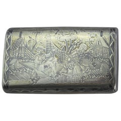 Antique Russian Silver-Niello Snuff Box, Moscow, circa 1908-1917