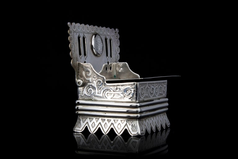Antique Russian Silver Salt Cellar in a Shape of a Bench In Good Condition For Sale In Braintree, GB