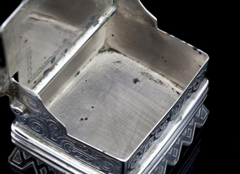 Antique Russian Silver Salt Cellar in a Shape of a Bench For Sale 3